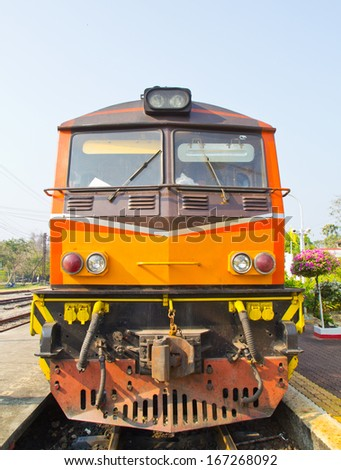 The train on the tracks in Thailand. - stock photo