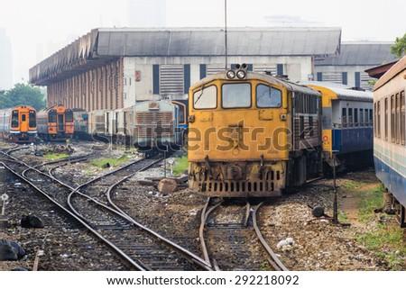 The train that run counter.  - stock photo