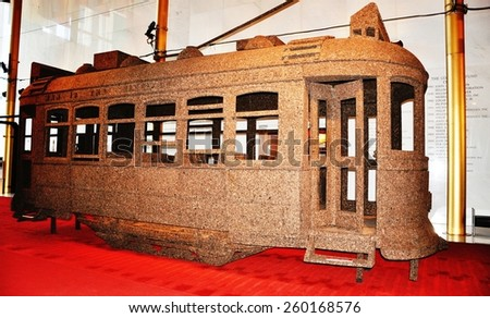 The tram in Kennedy Center. Tram model in hall of the Kennedy Center. - stock photo