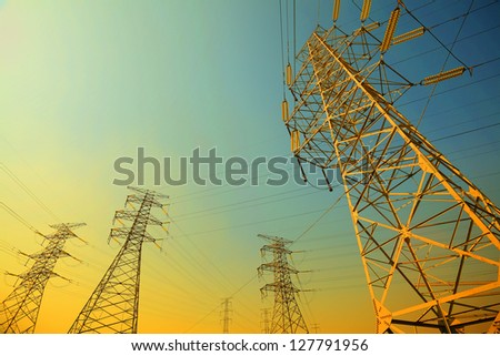 The transmission power towers of sky background