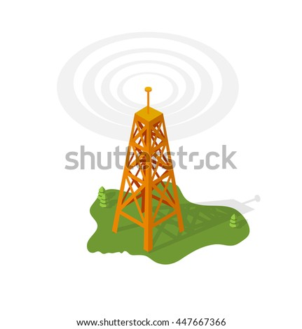 The transmission tower. Isometric building.