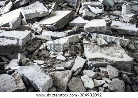 The trash and debris of demolished houses - stock photo
