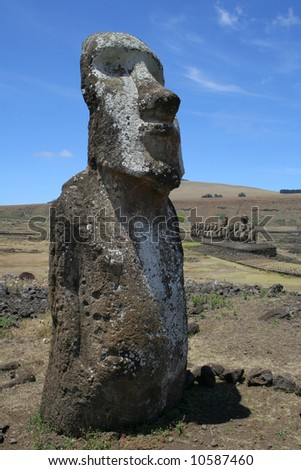 "The ""Travelling Moai"" at Ahu Tongariki on Easter Island - stock photo"
