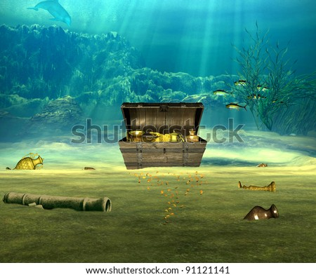 The treasure chest with valuable objects underwater. - stock photo
