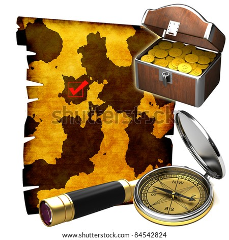 The treasure map with a chest of coins - stock photo