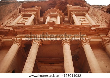 The Treasury building in Petra - stock photo