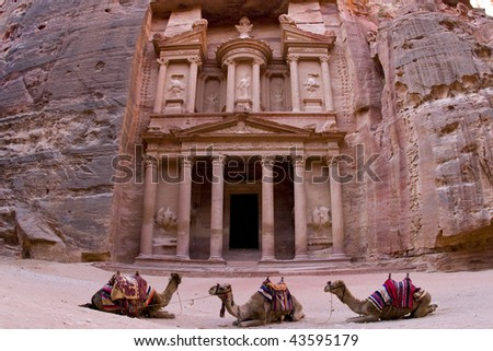 the Treasury building in Petra Jordan.