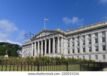 The Treasury Department Building in Washington DC - USA