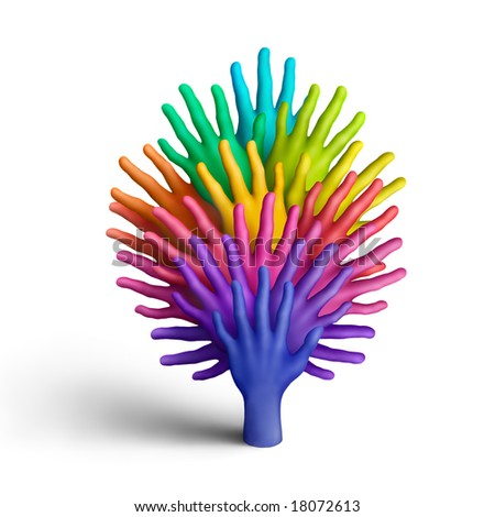 The tree made of multicolored plasticine hands on a white background - stock photo