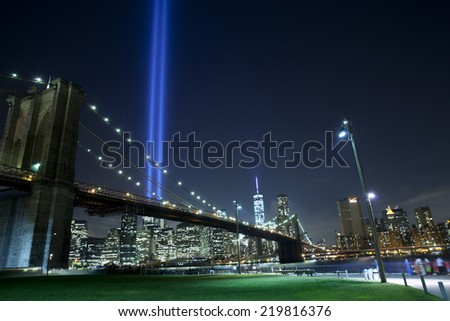 The Tribute in Light in New York City.  View from Dumbo, Brooklyn - stock photo