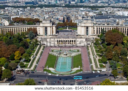 The Trocadero, site of the Palais de Chaillot, is an area of Paris, France - stock photo