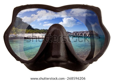 The tropical landscape is reflected in mask glasses for a snorkeling (diving) - stock photo