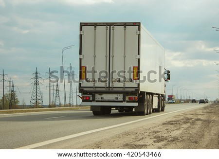 Truck On Road Container On Big Stock Photo 419097745 ...