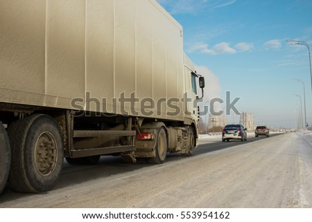 Trucks Move On On Highway Country Stock Photo 516530221 ...