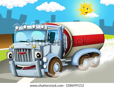 The truck on the highway - illustration for the children - stock photo