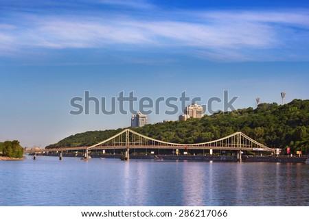The Trukhanov bridge in Kiev, Ukraine - stock photo