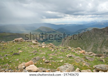 The tundra in Colorado during a rain shower. - stock photo