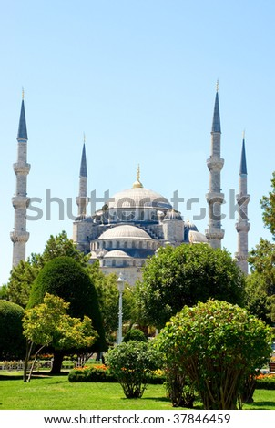 The Turkish famous national Sultan Ahmed Mosque in Istanbul, Turkey - stock photo