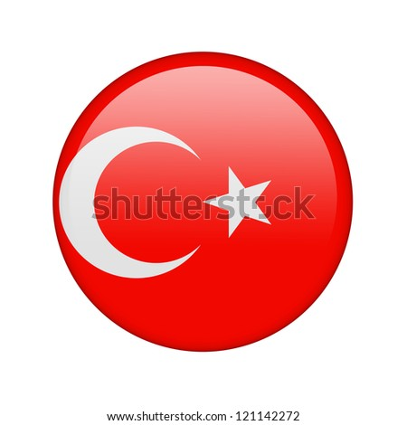 The Turkish flag in the form of a glossy icon. - stock photo