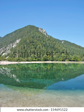 the turquoise clear lake Jasna near Kranjska Gora in triglav National park,Slovenia - stock photo