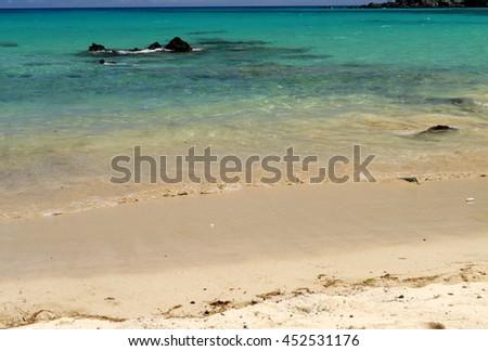 the turquoise waters of Beach 69, on Big Island, Hawaii - stock photo