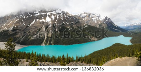 The turquoise waters of Peyto Lake, Banff National Park, Alberta, Canada - stock photo