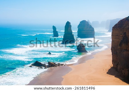 The Twelve Apostles, a famous collection of limestone stacks off the shore of the Port Campbell National Park, by the Great Ocean Road in Victoria, Australia. - stock photo