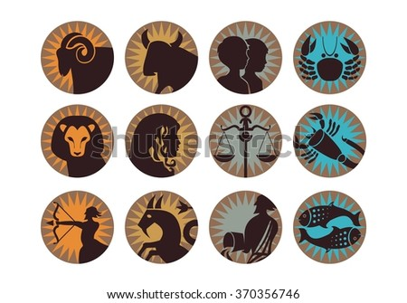 The twelve signs of the modern zodiac - stock photo