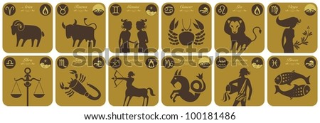 The twelve signs of the modern zodiac and their symbols - stock photo