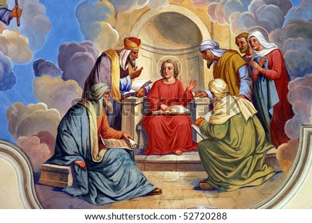 The Twelve Year Old Jesus in the Temple - stock photo