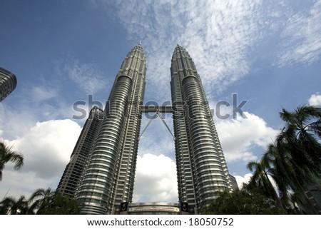 The twin towers of Malaysia capital city Kuala Lumpa - stock photo