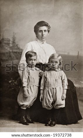 The Twins Antique Photograph - stock photo