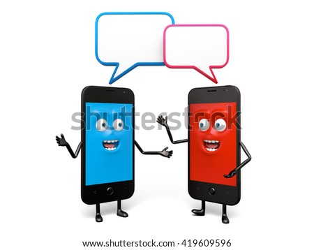The two cellphones are talking