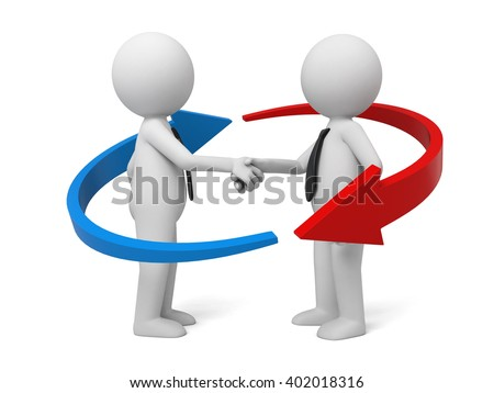 The two 3D people are shaking hands - stock photo