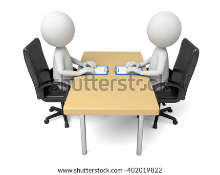 The two 3D people are talking  - stock photo