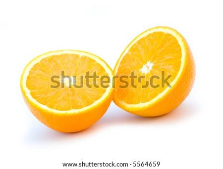 the two orange half isolated on white background - stock photo
