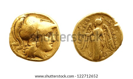 The two sides of an ancient greek gold coin, Alexander the Great, isolated on white. - stock photo