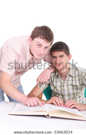 The two students with the book isolated on a white background