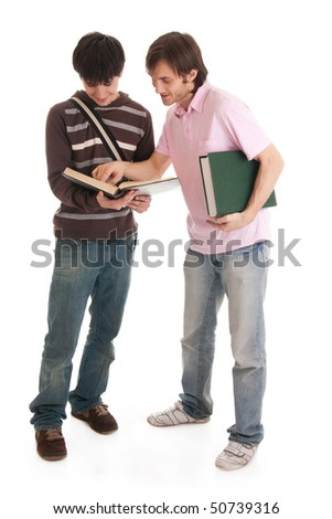 The two young students isolated on a white background - stock photo