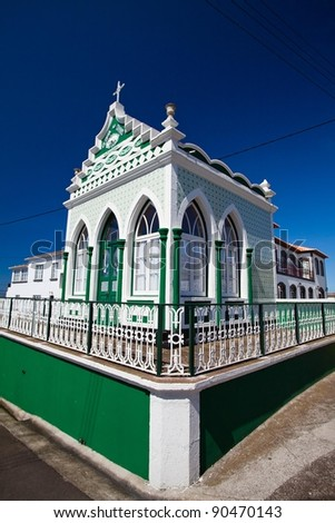 The typical small church named imporio in Azores - stock photo