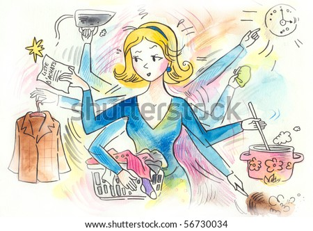 The typical woman that has a lots of chores to do! Doing laundry, cooking, cleaning, ironing, shopping, running errands... - stock photo