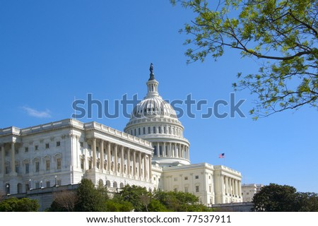 The U.S. Capitol Against a Bright Blue Sky on a Spring Day