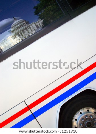 The U.S. Capitol building in Washington, D.C., reflected in a tour bus window. - stock photo