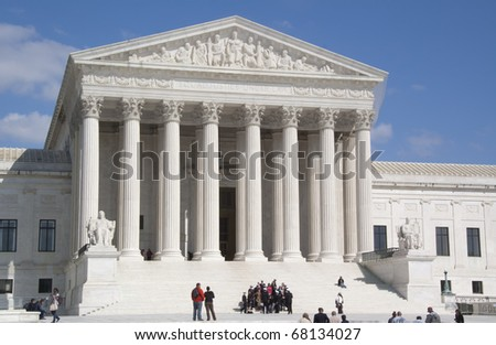 The U.S. Supreme Court in Washington, DC, on a Bright, Clear Spring Day - stock photo