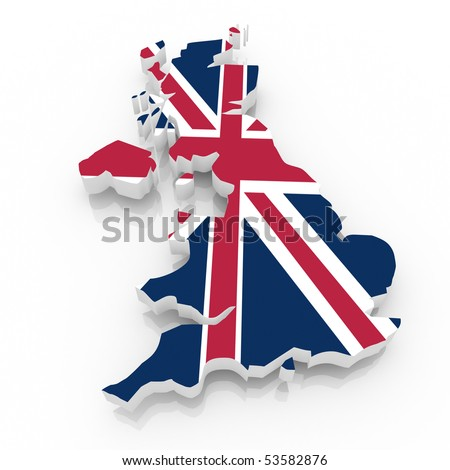 The UK country map  on a white background. Clipping path included. - stock photo