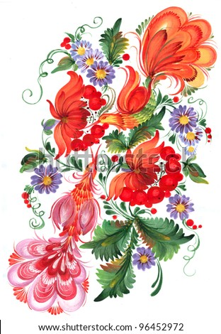 The Ukrainian decorative list. Composition of birds sitting on guelder-rose branches. Handwork - stock photo