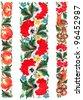 The Ukrainian decorative list. Three flower friezes. Handwork - stock photo
