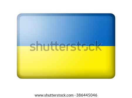 The Ukrainian flag. Rectangular matte icon. Isolated on white background. - stock photo