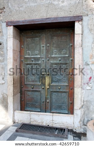 The Umayyad (Omayyad) Mosque  in Damascus, Syria. Back door detail