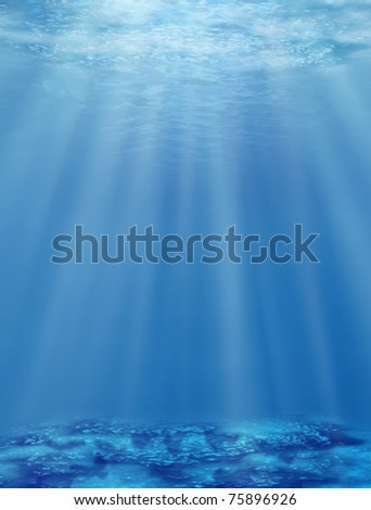 The underwater world. An illustration of sea depths with an effective bottom - stock photo